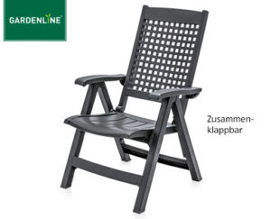 gardenline gartentisch stapelsessel relaxliege hochlehner klappsessel und balkon und bistro. Black Bedroom Furniture Sets. Home Design Ideas