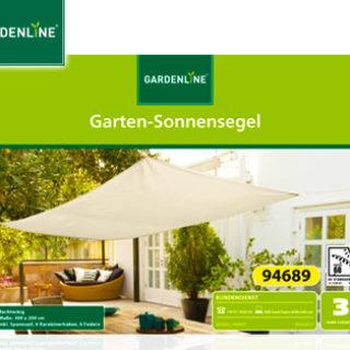 Gardenline Garten-Sonnensegel im Aldi Süd Angebot ab 6.6.2019