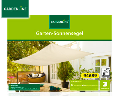 aldi gardenline garten sonnensegel als highlight der woche ab 7. Black Bedroom Furniture Sets. Home Design Ideas