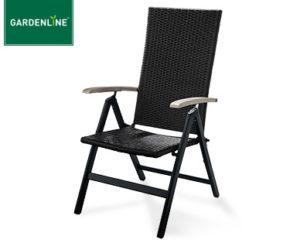 Gardenline Geflecht-Klappsessel und Geflecht-Stapelstuhl bei Aldi Süd erhältlich
