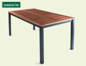 Gardenline Stapelstuhl Milano und Gartentisch Milano bei Hofer erhältlich