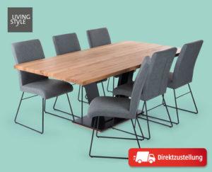 Living Style Esstischgruppe Industrial 7-teilig