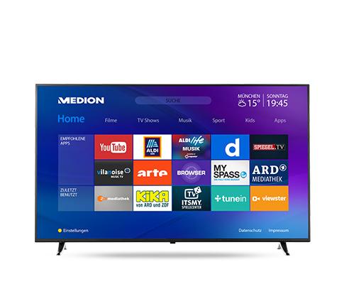 Medion Life X16515 MD31281 Ultra-HD Smart-TV Fernseher im Angebot bei Aldi Süd und Hofer
