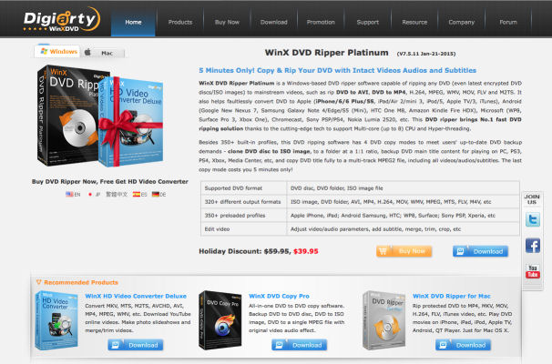 [Werbung] WinX Free DVD to MP4 Ripper mit Oster Giveaway