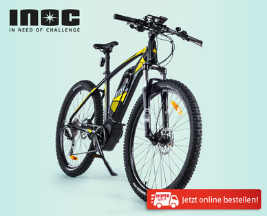 inoc e mountainbike mit mittelmotor bei hofer ab 14. Black Bedroom Furniture Sets. Home Design Ideas
