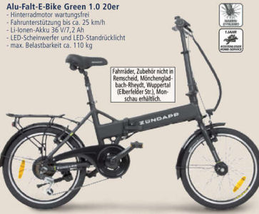 z ndapp alu falt e bike green 1 0 20er im real angebot. Black Bedroom Furniture Sets. Home Design Ideas