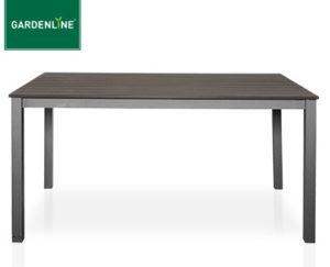 Gardenline Alu-Gartentisch mit Kunststoffplatte in Holz-Optik