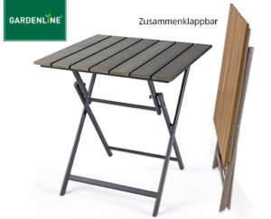 Gardenline Alu-Klapptisch mit Kunststoffplatte in Holz-Optik