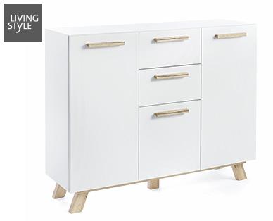 living style skandinavien kommode und design stuhl im aldi. Black Bedroom Furniture Sets. Home Design Ideas