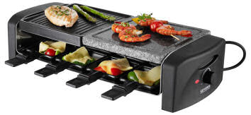 Severin RG 9640 Raclette-Partygrill mit Naturgrillstein