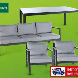 Hofer 6.6.2019: Gardenline Aluminium-Garten-Set 4-teilig im Angebot