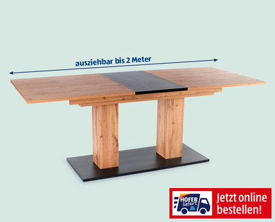 Hofer 29.7.2019: Säulen-Esstisch und Metallstuhl im Angebot