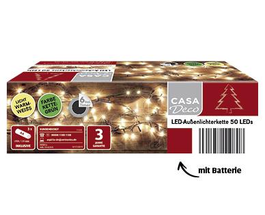 Aldi | LED-Außenlichterkette/-schweif mit Batterien von Casa Deco für 4,99€