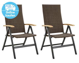 Gardenline Geflecht-Klappsessel 2er-Set im Angebot bei Aldi Süd 20.5.2020 - KW 21
