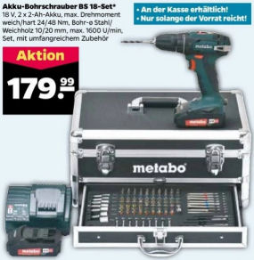 Netto 18.5.2020: Metabo BS 18 Akku-Bohrschrauber-Set im Angebot