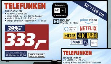 Bild von Real 8.3.2021: Telefunken D50U551N1CW 50-Zoll Fernseher im Angebot