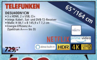 Bild von Telefunken D65U400N1CW Ultra-HD Fernseher bei Real 5.10.2020 – KW 41