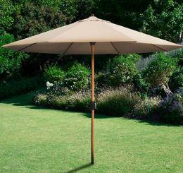 Alu-Sonnenschirm in Holzoptik