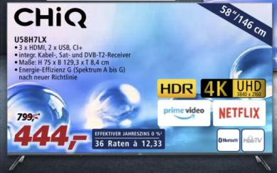 Chiq U58H7LX 58-Zoll Ultra-HD Fernseher